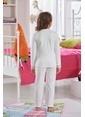 Zeyzey Baskılı Kız Çocuk Pijama Takımı Ekru